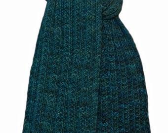 Hand Knit Scarf - Tournaline Green Keji Cashmere Trail Rib
