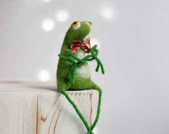 Needle Felt Frog - A Little Felt Green Frog With A Red Tie - Easter Home Decor - Needle Felt Art Doll - Needle Felted Animal - Summer Decor