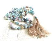 Amazonite Knotted Mala Beads, Hand Knotted 108 Bead Mala, Silk Tassel Mala, Rose Quartz and Amazonite Meditation Beads, Yoga Jewelry