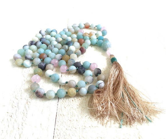 Amazonite Mala Bead Necklace, Hand Knotted Mala Necklace, Mala Necklace 108, Yoga Meditation Beads, Silk Tassel Mala, Spiritual Jewelry