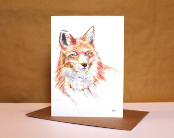 Fox Watercolour Card ~ fox card, fox art, watercolour fox, fox watercolour print, fox illustration
