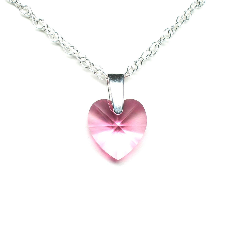pink crystal heart necklace swarovski crystal pendant. Black Bedroom Furniture Sets. Home Design Ideas