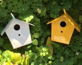Miniature White Metal Birdhouse, Fairy Garden Accessory, Miniature Gardening, Home and Garden Decor, Topper, Crafting