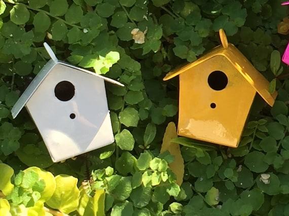 Miniature White Metal Birdhouse, Fairy Garden Accessory, Miniature Gardening, Home and Garden Decor, Topper, Crafting