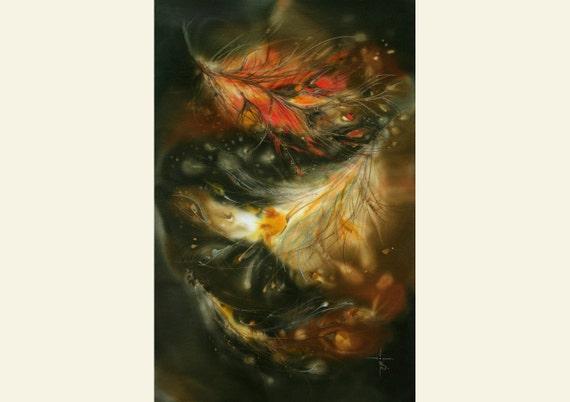 Painting Art Phoenix Fire Fantasy Digital Drawing: Phoenix Feather Fantasy Art Fantasy Painting Fire Bird