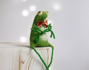 Needle Felted Frog - A Little Felt Green Frog With A Red Tie - Needle Felt Art Doll - Needle Felted Animals - Summer Decor - Fiber Art Doll
