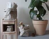 Paper sack, Paper bag storage, Grey washable paper, bin, toy storage, kids room, planter, hamper, container, minimalistic, stylish, trendy