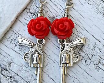 Red Rose Pistol Earrings GUN EARRINGS Western Jewelry Antique Silver Nickel Free