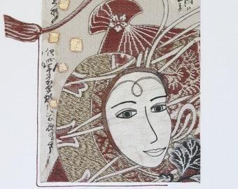 Eastern Tales ~ Textile art, Vintage Japanese fabric, female face, fibre art, collage, original art, Asian decor, rust, cream, black, gold