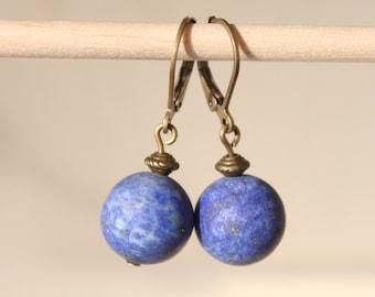 Lapis Lazuli Earrings, Lapis Earrings, Dangle Earrings, Drop Earrings, Navy Blue Earrings, Gift for women Gift for her