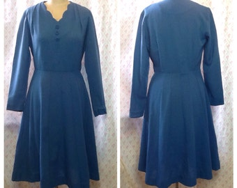 Lovely Vintage 1950's blue wool mix day dress/mid century/ fall
