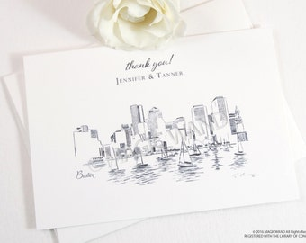 Boston Skyline Wedding Thank You Cards, Personal Note Cards, Bridal Shower Thank you Cards (set of 25 cards)