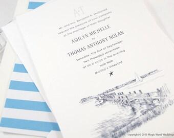 Martha's Vineyard Skyline Destination Wedding Invitations Package (Sold in Sets of 10 Invitations, RSVP Cards + Envelopes)