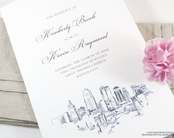 Kansas City Skyline Wedding Programs (set of 25 cards)
