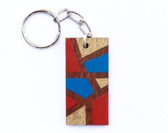 Hand Painted Wooden Keychain Minimalist Design Keychain