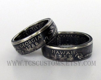 State Quarter Coin Rings, SILVER, Choose Your State Patina Finish, Unique Engagement Ring, Wedding, Coin Jewelry, Mens, Band, Rings