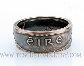 Irish 1 Pingin EIRE Coin Ring, Ireland, Copper, Bronze, Unique Ring, Coin Jewelry, Mens, Band, Mans, Rings