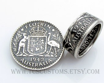 Australia Florin Coin Ring, SILVER, Unique Engagement Ring, Wedding Ring, Coin Jewelry, Mens, Band, Mans, Rings