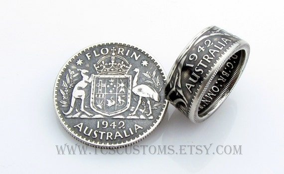 australia florin coin ring silver unique engagement ring