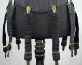 Detachable Silk Covered Suspenders  Black and Gold (Set of 10)