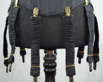 Detachable Silk Covered Suspenders - Black and Gold (Set of 10)