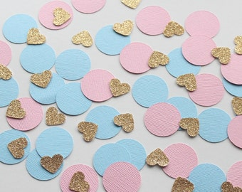 "Pink, Blue & Gold 1"" Circle and Heart Confetti/ 100 Count/Gender Reveal/ Birthday/ Bridal Shower/ Baby Shower/ Table Confetti/ Boy or Girl?"