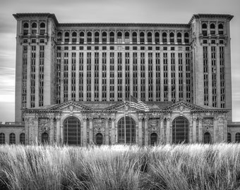 Lustre Print: Michigan Central Station-BLACK AND WHITE