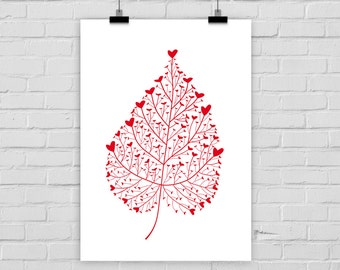 fine-art print poster RED HEART LEAF