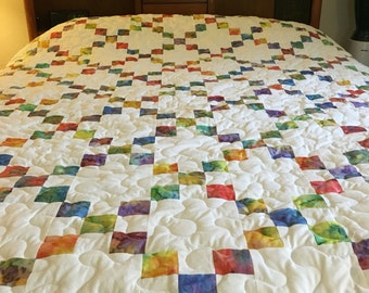 Queen size handmade quilt in an Irish chain design
