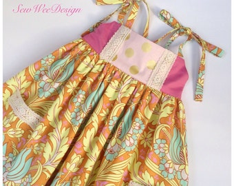 Girls boho dress - Summer dress -  Girls spring dress - Size 3T dress - Pink dress - Back to school dress - Amy Butler fabric