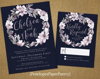 Elegant Navy Winter Wedding Invitations,Dusty Plum,Wintery Gray,Wreath Design,Shimmery,Romantic,Opt RSVP,Customizable with White Envelopes