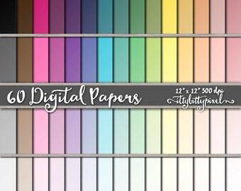 Ombre Solid Color Scrapbook Paper, Ombre Colored Scrapbooking Paper, Gradient Digital Paper, Basic Gradient Ombre Paper, Pastel Colors