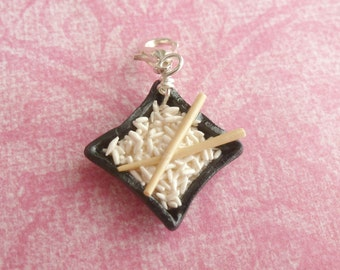 Rice Bowl Chopsticks Charm Miniature Food Jewelry Polymer Clay Rice Charm