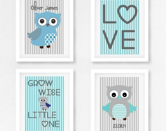Unique Baby Boy Gift, Baby Boy Baby Shower Gift, Personalised Gift for New Baby Boy, Blue and Grey Owl Nursery Decor, Owl Birth Print