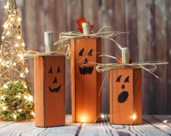 wood pumpkins rustic halloween decor pumpkin decor reclaimed wood hand painted pumpkins - Halloween Decor