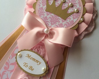 Princess baby shower corsage/Pink and gold baby shower corsage/Princess Mommy to be Corsage