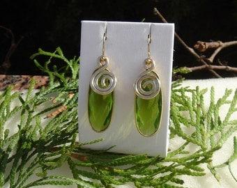 Peridot quartz earrings in 585-er silver! Wonderful!