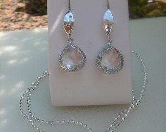 Silver earrings, sterling silver, hook in the hammer blow design, Crystal drops