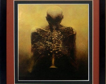 Framed Beksinski Art Poster Horn Player