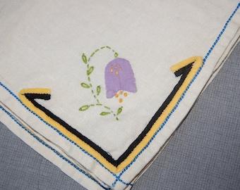 Purple Bell flowers vintage hankerchief/Napkins