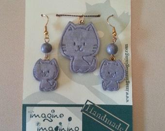 Kitty pendant and earrings set