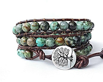 african turquoise leather wrap bracelet, beaded wrap bracelet, leather bracelet, gemstone leather wrap bracelet, tree of life boho bracelet