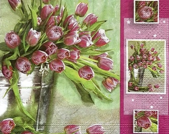 Set of 2 pcs 3-ply ''Bunch of tulips'' paper napkins for Decoupage or collectibles 33x33cm, Floral napkins, Mixed media, Spring napkins