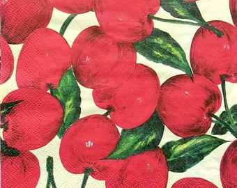 Set of 2 pcs 3-ply Harmony Cherries paper napkins for Decoupage or collectibles 33x33cm, Fruits napkins