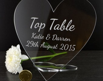 Personalised Heart Shaped Wedding Top Table Plaque Name Sign