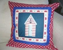Hand Quilted Beach Hut Cushion Cover. Beach Hut Print Cushion Cover.Blue and Red Beach Hut Fabric Patchwork Cushion Cover. Beach Home Decor