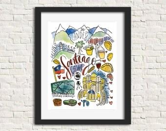 Santiago, Chile Watercolor City Illustration Print 8x10