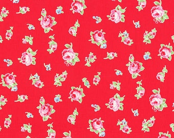 Flower Sugar Red Rose Toss fabric from Lecien