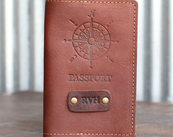 The Expedition Personalized Leather Passport Cover Holder Compass Passport Travel Groomsmen Gift, College Grad Gift, High School Grad Gift