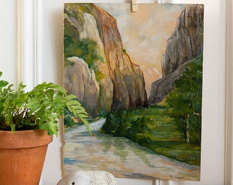 French Plein Air River Gorge Gouache Painting